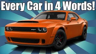 Every Car Ever in 4 Words! AMERICAN EDITION