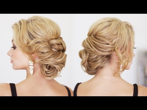 Easy side  textured  Bun Hairstyles Updos