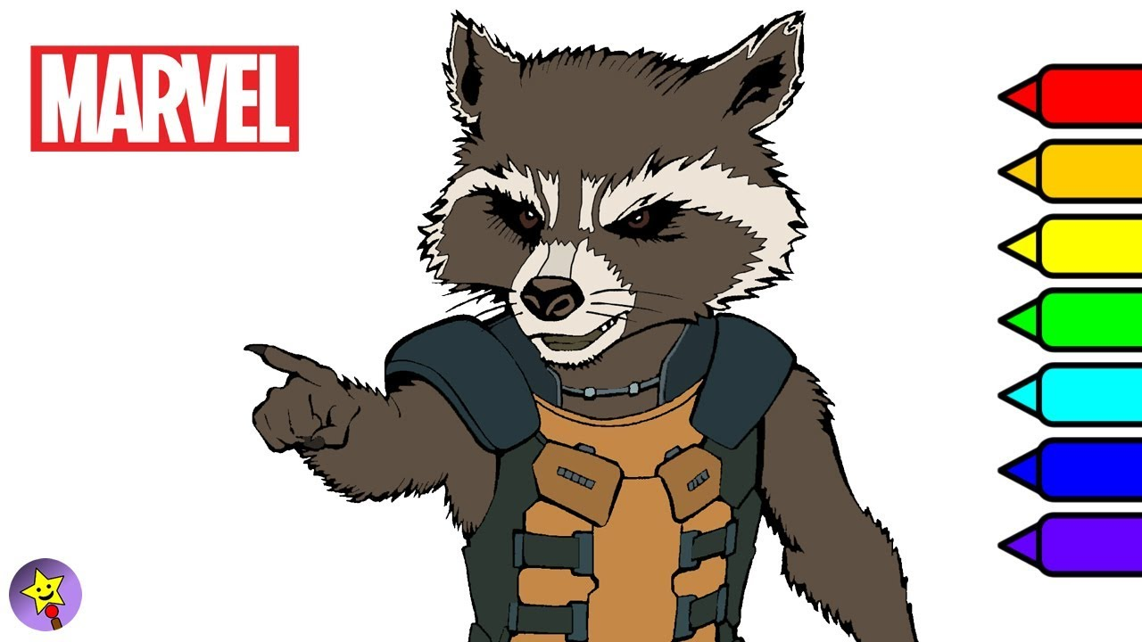 Marvel Guardians of the Galaxy Coloring Book Rocket Raccoon Coloring ...