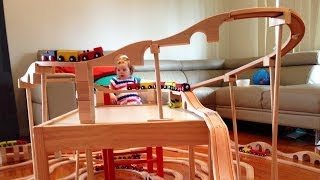 Coming round the kids train set mountain - Toy Train Track 21