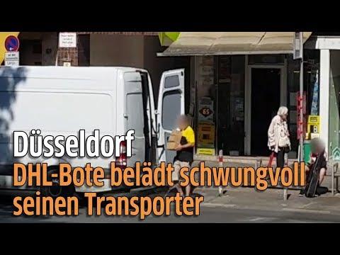 DHL-Paketbote in Düsseldorf schmeißt Pakete in seinen Transporter