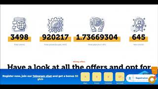 Mining-up  Register now, join our Telegram chat and get a bonus 50 ghs