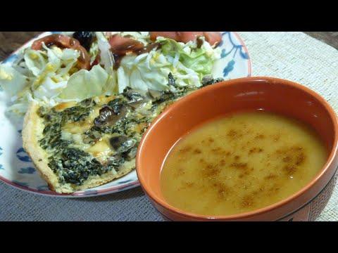 idée-repas-01-:-quiche-épinard-champignon-soupe-de-lentilles-corailles
