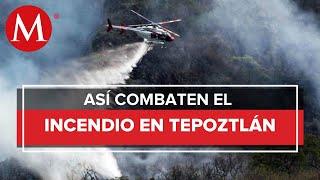Autoridades reportan que se ha controlado 70% de incendio en Tepoztlán