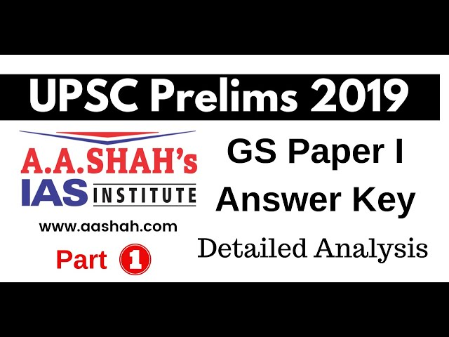 UPSC Prelims 2019 GS Paper 1 Answer Key  Paper Discussion Analysis by Mrs Bilquees Khatri (Part 1)