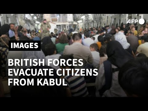 Afghan civilians evacuated from Kabul by British Forces   AFP
