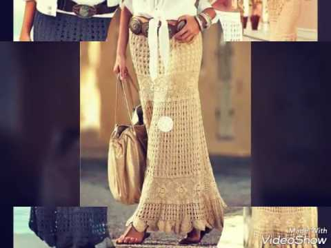 Falda mujer muy bonita tejida en crochet - el patron - YouTube