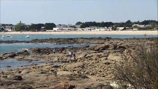 Plage de L'Anse du Stole ; Port de Lomener ; Panorama ; Ploemeur ; Bretagne ; France