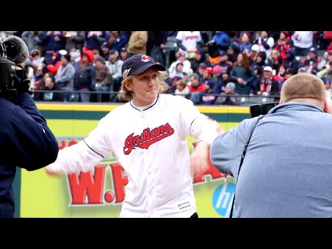 Watch Olympian Red Gerard throw ceremonial first pitch at Cleveland Indians' 2018 home opener (video)