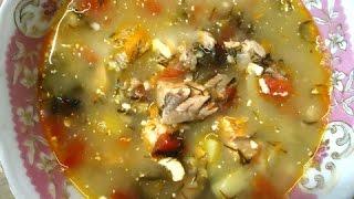 Рыбный суп с помидорами и фетой из консервированной горбуши
