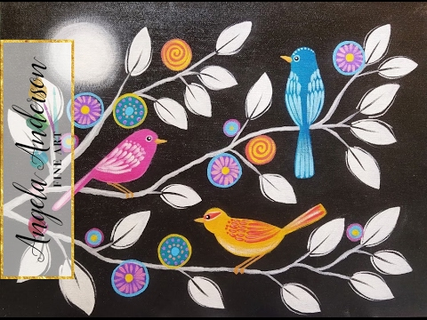 Paint Whimsical Birds on Black and White Chalkboard Canvas | Live Beginner Acrylic Painting Tutorial