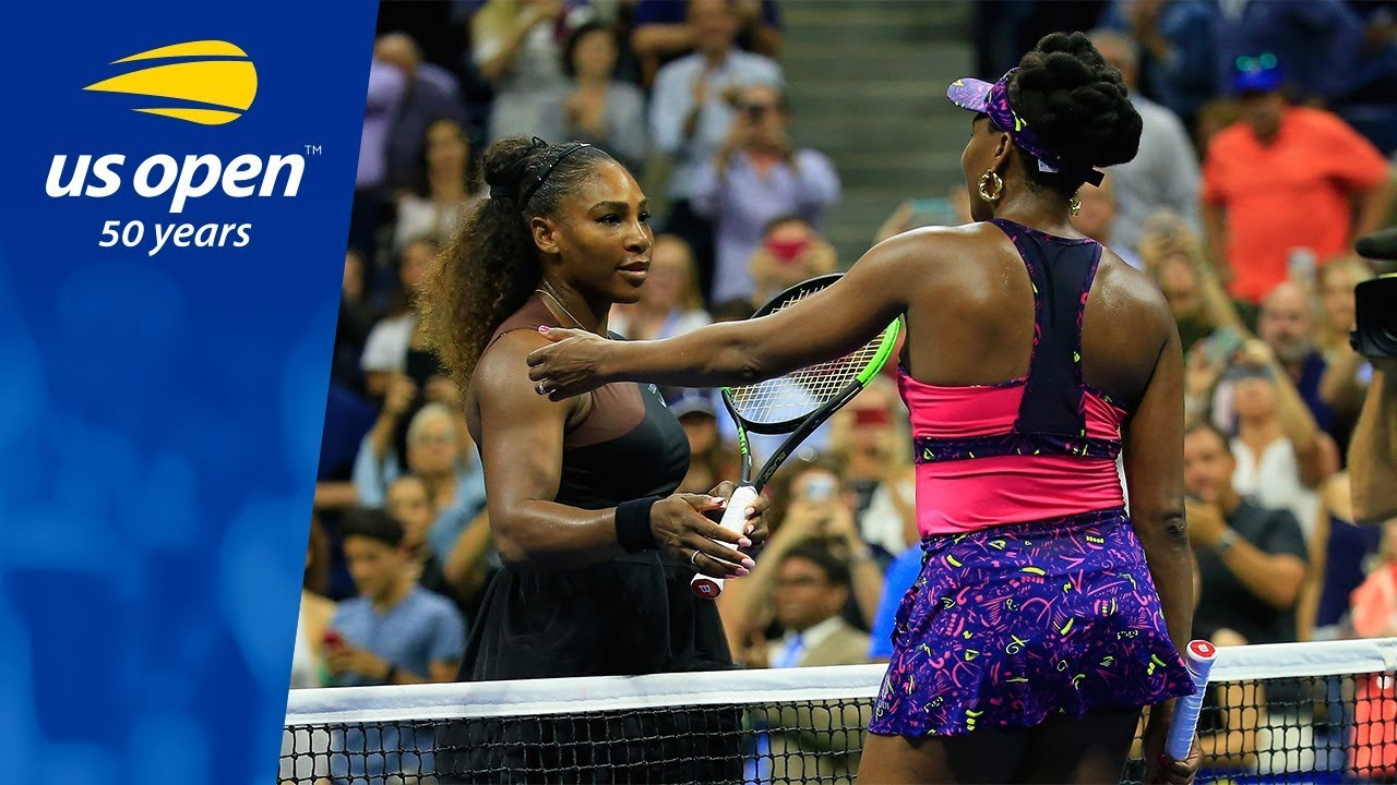 c168fe1d3b Serena Williams Tops Sister Venus in Arthur Ashe Stadium - YouTube