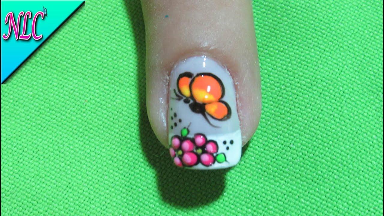 Decoracion De Uñas Mariposa Y Flores Como Pintar Mariposas