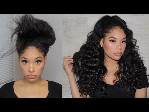 QUICK CURLY HALF UP HALF DOWN HAIRSTYLE W/ U-PART WIG