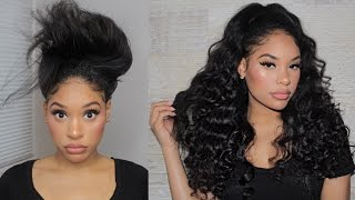 QUICK CURLY HALF UP HALF DOWN HAIR | SHORT TO LONG HAIR in MINUTES