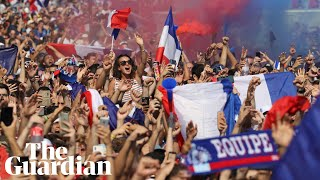France fans celebrate opening goal in World Cup final