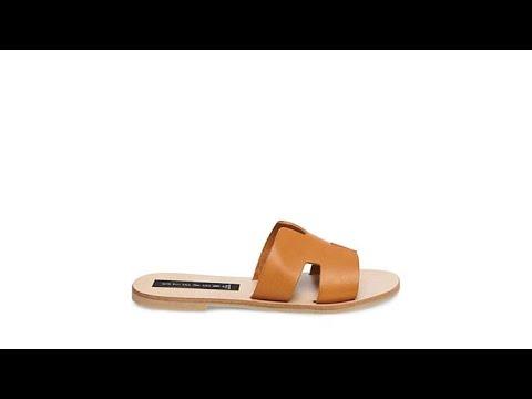 5d7eff54e49a Steven by Steve Madden Greece Leather Slide Sandal - YouTube