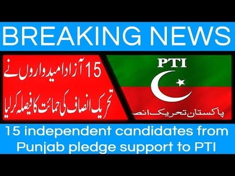 15 independent candidates from Punjab pledge support to PTI - 27 July 2018
