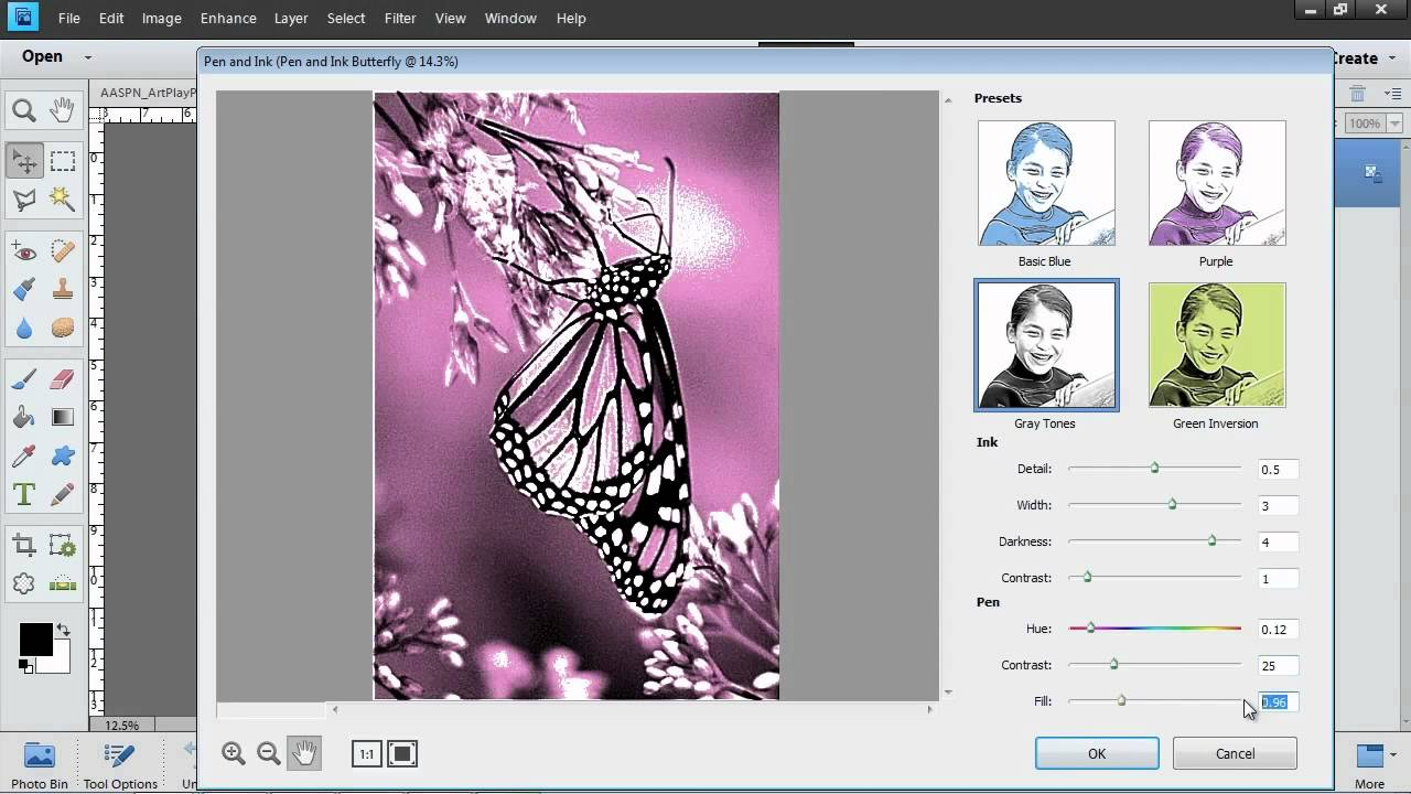 Photoshop elements 11 pen and ink filter youtube baditri Images