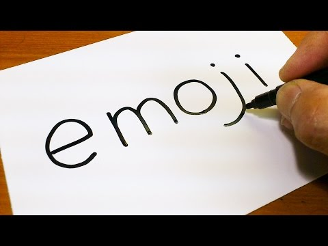 Very Easy ! How to turn words Emoji into a Cartoon for kids -  How to draw doodle art on paper