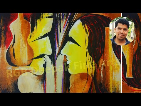 Yellow Couple Portrait with Abstract Painting | Vase Face || Acrylic & Colorful Art