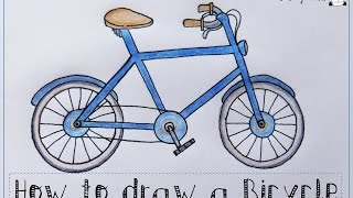 How to draw a bicycle (bike). Easy drawing tutorial for kids