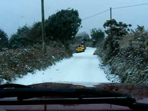 Cornwall in the snow 2010 Redruth 234 metres above sea level Land Rover Discovery 300TDi part 3 of 3