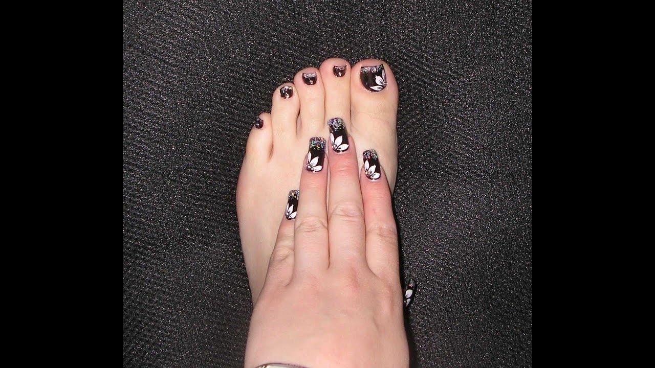 Dark Coloured Flower Toe Nail Art Youtube