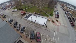 Aerial view of Portable Ice Skating Rink in Mount Pleasant, Iowa