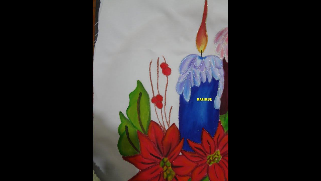Pintura en tela vela azul de nochebuena con marimur 575 - Pintura en tela motivos navidenos ...