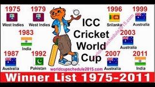 ICC CRICKET WORLD CUP CHAMPIONS LIST