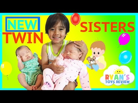 Thumbnail: TWIN GIRLS Reveal Ryan ToysReview Newborn baby sisters New Family Members