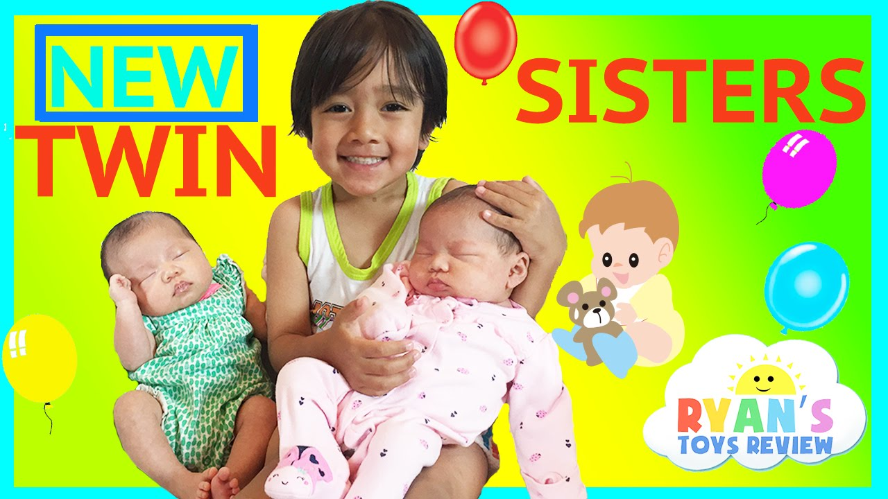 Twin Girls Reveal Ryan Toysreview Newborn Baby Sisters New Family Members