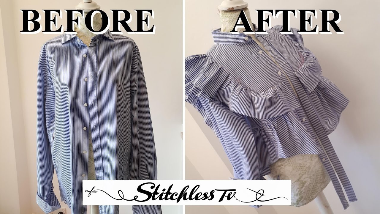 Diy refashion men 39 s shirt into a ruffle top youtube for How to put a picture on a shirt diy