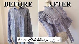 DIY Refashion Men's Shirt into a Ruffle top