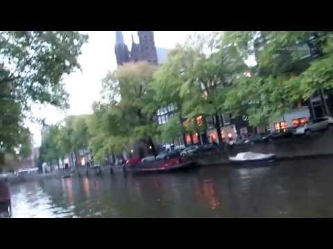 Amsterdam - Evening walk along the Singel Canal in Holland - The Netherlands