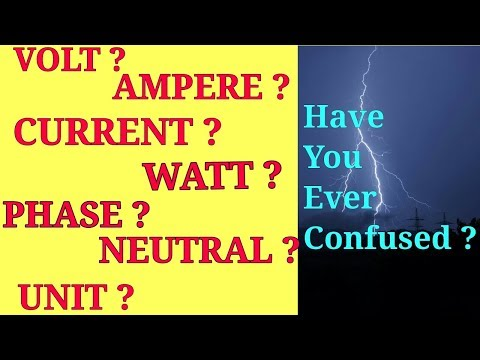 what is the meaning of voltage,current,volt,ampere,resistance,load,phase,neutral,watt,unit? |Hindi|