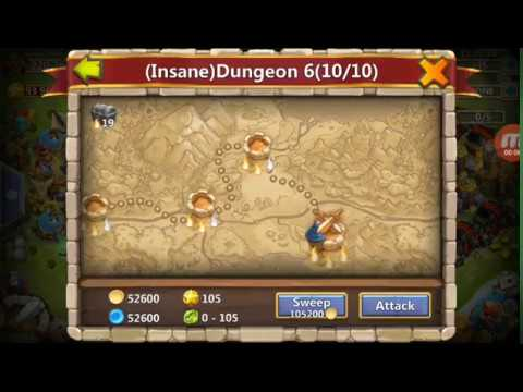 Castle Clash Insane Dungeon 6-10 With F2p Heros Easy Trick Ever(Must Watch)