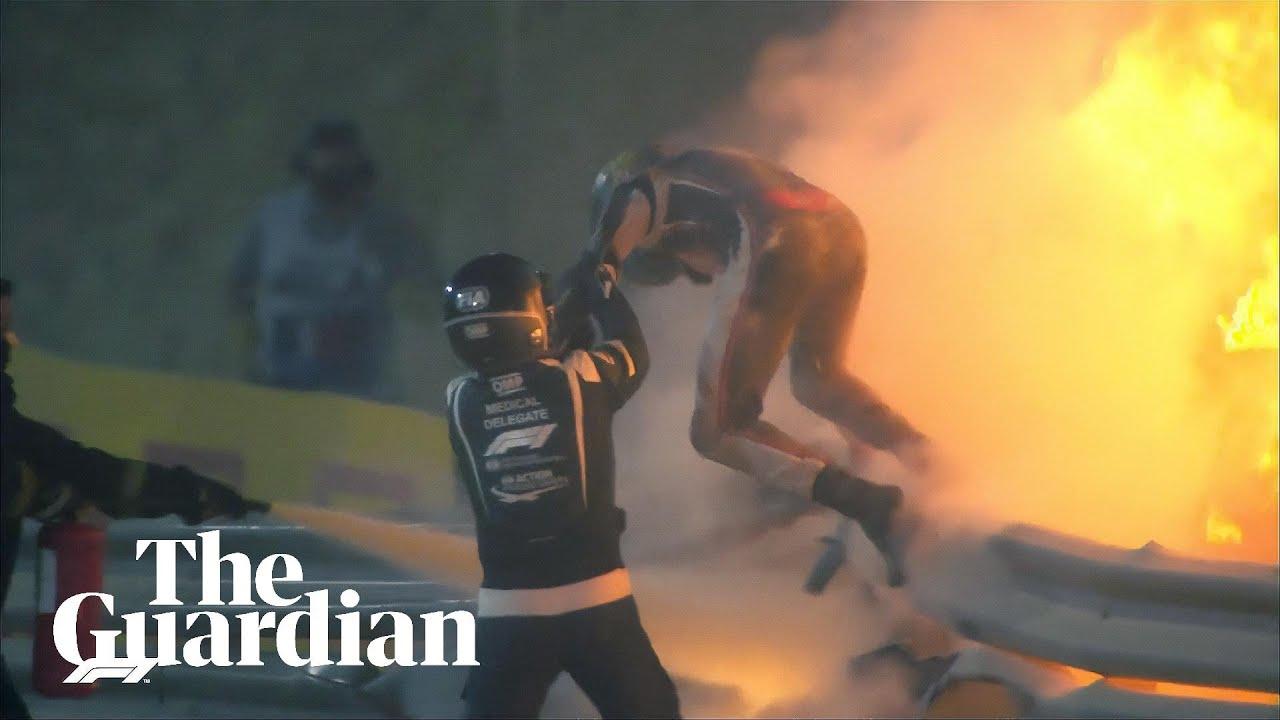 Download Romain Grosjean walks away from fiery F1 crash in Bahrain Grand Prix