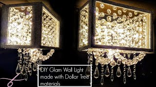 DIY Dollar Tree Wall Light Part 1 - Chandelier Lampshade - Glam Wall Sconce Light - DIY Wall Decor