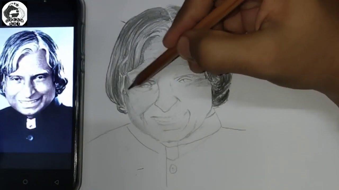 Drawing A. P. J. Abdul Kalam   Pencil Sketch for beginners ...