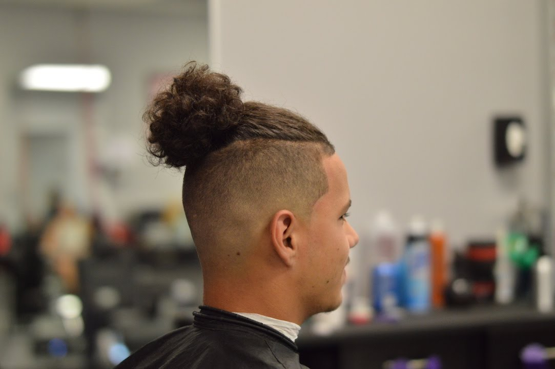 Man Bun With Bald Skin Fade Step By Step How To Youtube