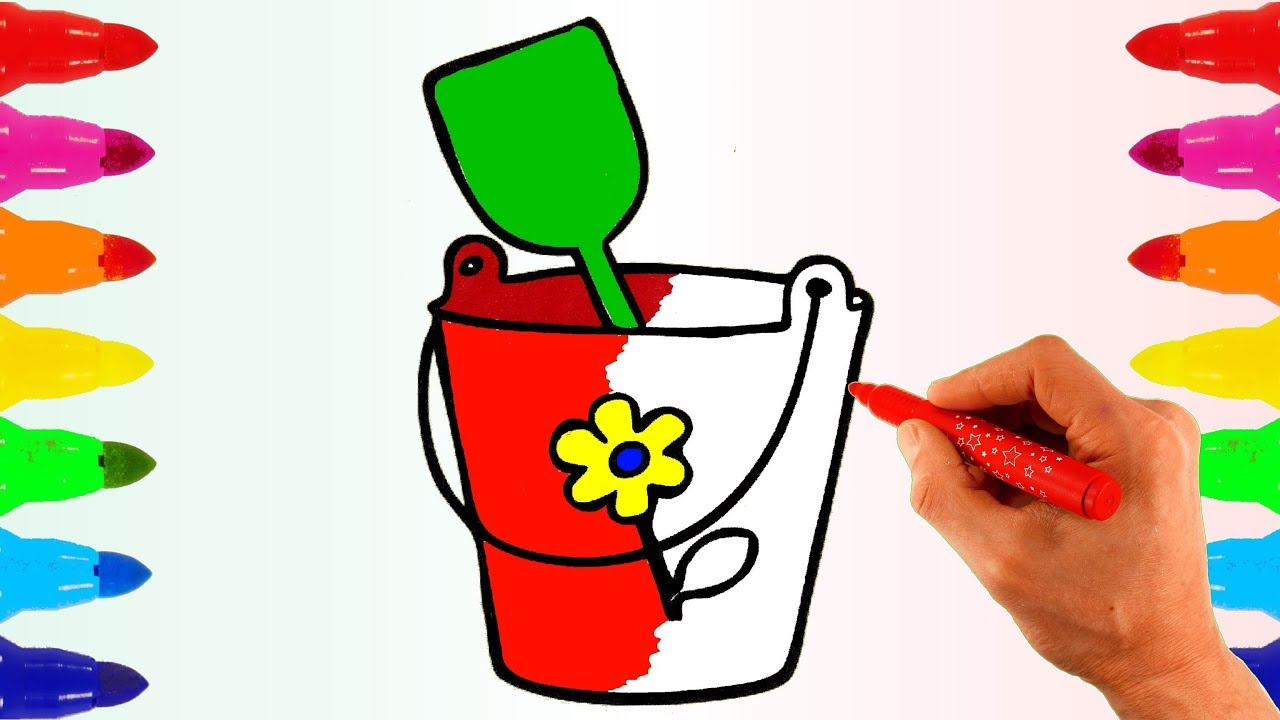 How to draw Bucket with Flower. Learn Colors with Colored Markers ...