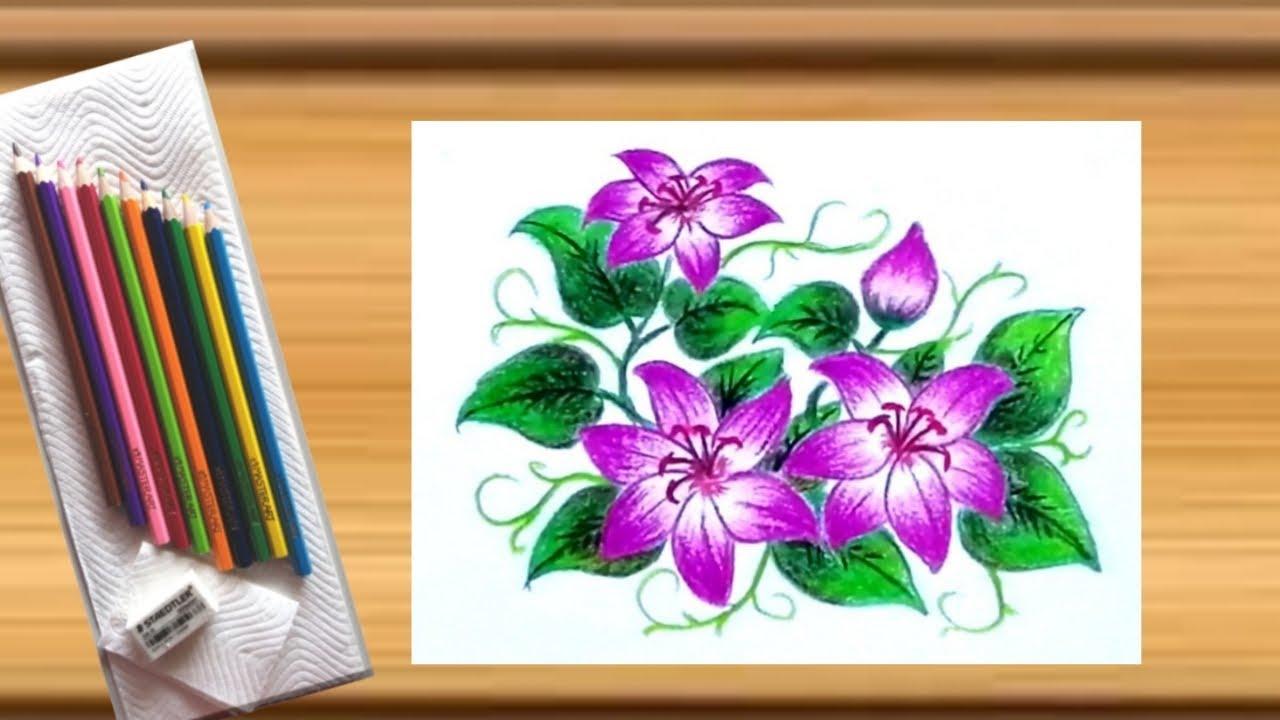 Drawing beautiful flowers with coloured pencils / วาดภาพดอกไม้แสนสวยด้วยสีไม้