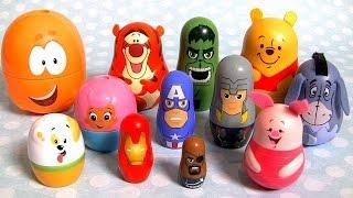 Disney Pooh Stacking Cups Bubble Guppies Nesting Toys Marvel the Avengers Thor Hulk Tigger Eeyore