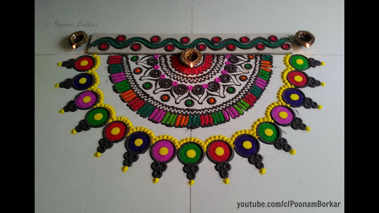 Easy multicolored semi circle rangoli design easy for Door entrance rangoli designs