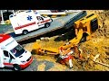 RC excavator construction site crash! Construction Toy Vehicles action video for Kids