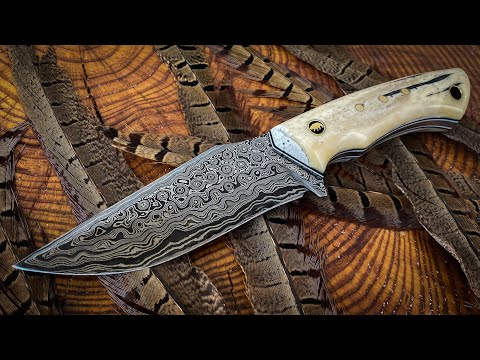 Making Damascus Hunting Knife (GIVEAWAY)
