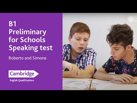B1 Preliminary For Schools Speaking Test (from 2020) - Roberto And Simone