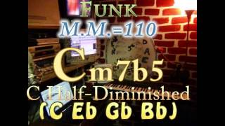 Cm7b5 Half-Diminished (C Eb Gb Bb) One Chord Backing Track - Funk M.M.=110